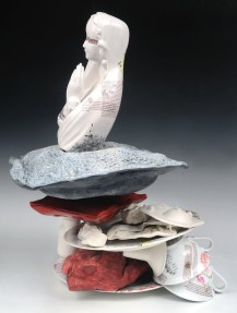 """Slip-cast multiples, slip-dipped fabric, re-fired found objects, ceramic decals, 20"""" x 18"""" x 18"""""""