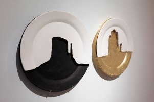 "Hand-machined ceramic, gold leaf, India ink, 13 x 28 x 2"""