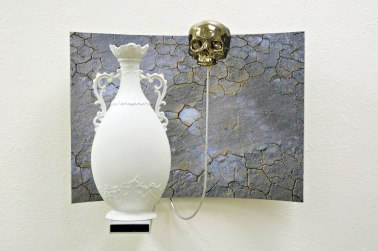 Slip cast, and found-manufactured ceramic, silver luster, archival inkjet print, aluminum, 20 x 28 x 14""