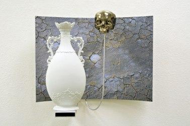 "Slip cast, and found-manufactured ceramic, silver luster, archival inkjet print, aluminum, 20 x 28 x 14"""