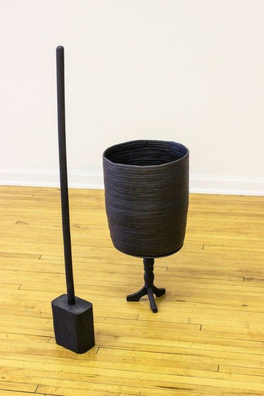 ceramic, found object, anodized steel wire, graphite, 41 x 24 x 24 in., 2014