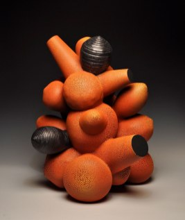 Thrown and hand-built earthenware, multiple glaze firings, 27x22x20""