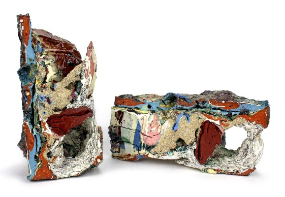 "2015, Various reclaimed ceramic materials; 10″ x 5.5″ x 6″ (left), 5.5"" x 11"" x 4.5"" (right)"