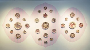 """Installation View, Cone 6, Multiple Firings, 8'x17'x2.5"""", Commercial & Laser Decals, China Paint, Gold Luster, 2016"""