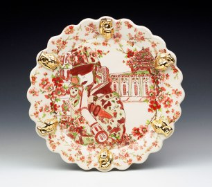 """Porcelain, Cone 6, Multiple Firings, 13"""" x 13"""" x 2.5"""", Commercial & Laser Decals, China Paint, Gold Luster, 2016"""