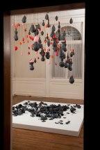 2009, black porcelain, balloons, string, 13'H x 8'W x 8'D