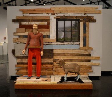 ceramic, wood, long johns, goat fur, window, projected image, Polaroid, 4'x7'x7', 2011