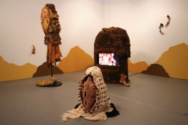 2018, Installation: ceramics, metal, fabric, leather, wool, wire, paint, epoxy, toy guns, video, 120 x 192 x 96""