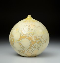 Porcelain, Cone 10 Oxidation, Shiny Crystalline Glaze, 6.5 inches tall
