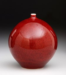Porcelain, Cone 10 Reduction, Copper Red Glaze, 7 inches tall