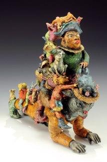 hand-built earthenware, slips, underglaze, oxides, glaze, 2014