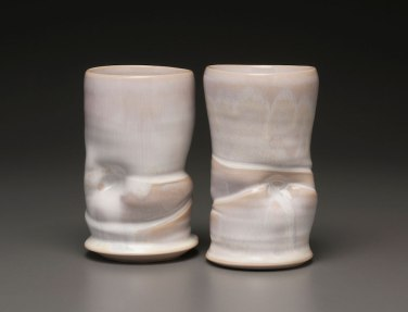 """2015, 6"""" x 4"""" x 3"""" (h x w x d), Porcelain clay, Wheel thrown and altered clay that has been glazed and fired in oxidation to cone 6 in an electric kiln."""
