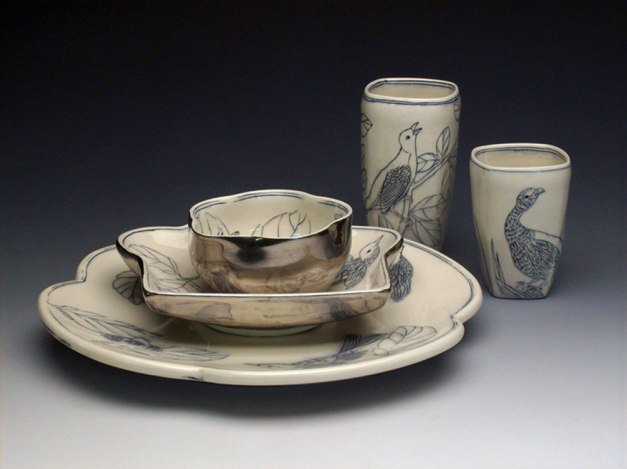 porcelain, thrown/altered, cone 6 soda firing, plate 12 inches, photo: Steve Witcomb