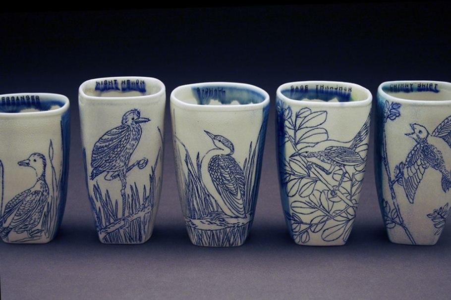 "porcelain, thrown and altered, cone 6 soda firing neutral environment, cone 6, soda neutral, 4"" x 4"" x 6"""