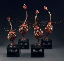 """Glazed Stoneware, Luster, Paint, Steel, fabric, wire, polymer clay, wood, 20""""x11""""x11"""""""