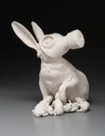 "11""x9""x12"", hand built porcelain, mixed media, 2010"