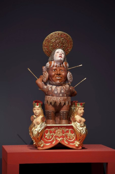 """38""""h x 18""""w x 18""""d. 97h x 45.7w x 45.7d cm. Halo, arrows, pedestal are removable. 2012"""