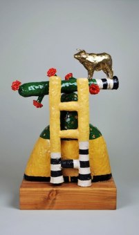 """25""""Hx15""""Wx10.5""""DP, Stoneware, Glaze, Slip, Oxide, Stain, Gold Luster, Wood, Wood Stain"""
