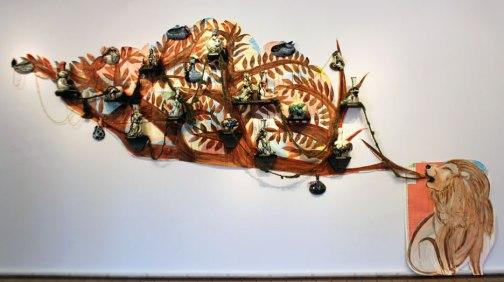 """Maps, Ink, Yarn, Wood, Porcealin, 2011, 8'X 20' X5"""""""