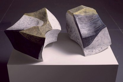 """Painted Shapes, 2010, Earthenware clay, glaze and wax. 32""""x22""""x16"""""""