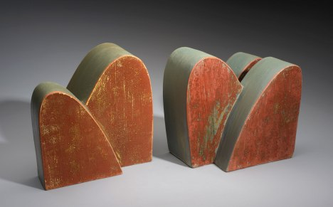 slab-constructed terracotta, 2013, low-fire oxidation, #5: 9 x 9 x 7 in., #6: 9 x 10 x 8 in.