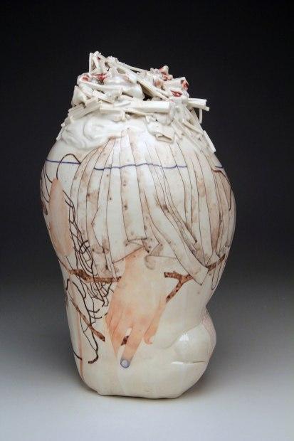"porcelain, glaze, china paint, 13"" x 7"" x 5"", 2014"