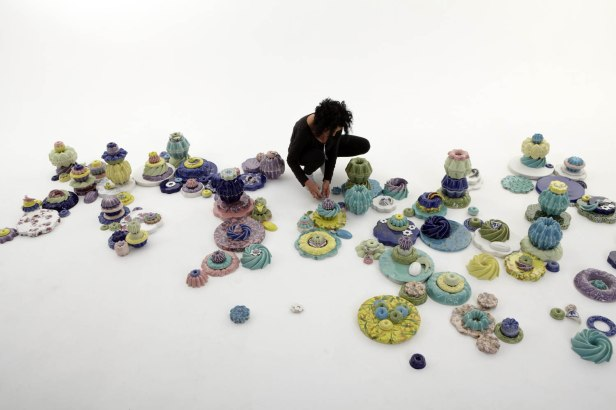 """Vitreous china, glaze, decals, marbles, glass beads, 192"""" L x 96""""W x 18""""H, 2014"""