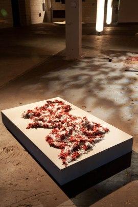 """Porcelain, glaze, fiber, 48"""" L x 48"""" W x 2"""" D (122cm x 122cm x 5cm), 2004"""