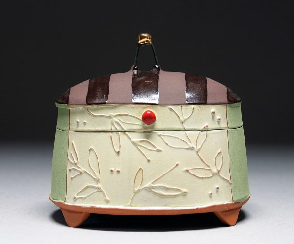 Handbuilt earthenware, terra sigillata, underglaze, and glaze, 5x4x3