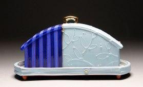 Handbuilt earthenware, terra sigillata, underglaze, glaze, and gold luster, 4x6x3