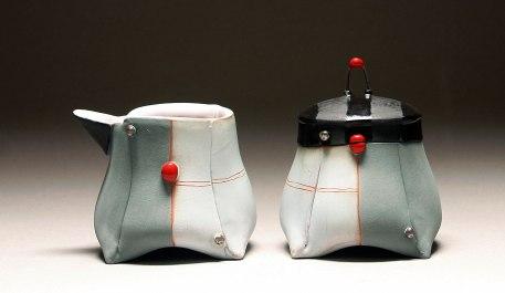 Handbuilt earthenware, terra sigillata, underglaze, glaze, and platinum luster, wire, 3.5x6x3