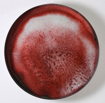 "2007, 24.5"" diameter x 5.5"" deep, crystalline glazed porcelain"