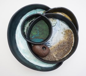 """2017, Ceramic, locally collected and recycled materials, and mixed media, 15"""" x 15"""" x 6"""""""