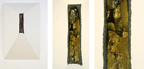 "37""x28""x24"", Ceramic form inside of wooden structure"