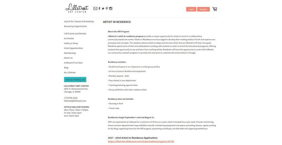 Lillstreet website screenshot