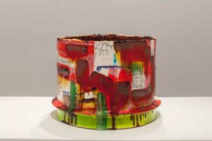 "red earthenware, slips, glaze. 20""h x 28""w x 28""d, 2013."