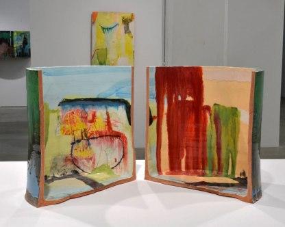"red earthenware, slips, glaze. 16"" h x 29""w x 18""d, 2013."