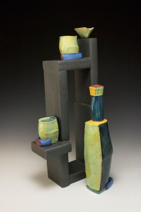 """2014, 22""""h x 9.5""""w x 4""""d, Hand built cone 3 red clay and slipcast cone 03 earthenware, terra sigillata, underglaze, and glaze. Electric fired."""