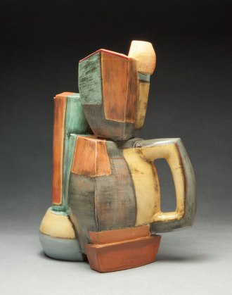 """13""""h x 9""""w x 7""""d, Hand built cone 1 red clay, terra sigillata, and glaze. Electric fired."""