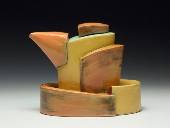 """2014, 6""""h x 6""""w x 4""""d, Hand built cone 3 red clay, terra sigillata, and glaze. Electric fired."""