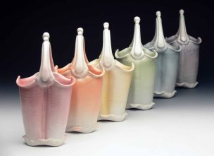 """2015, Thrown and Altered Porcelain, 11"""" x 6"""" x 5"""" each"""