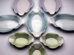 "2015, Thrown and Altered Porcelain, 2"" x 15"" x 9"" center blue platter"
