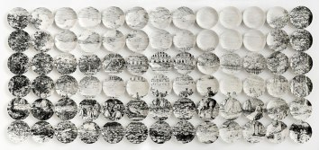 "2012-2014, 60"" H x 130"" W x 1.5"" D, 78 hand-painted plates with glaze and underglaze, Photo: John Polak"