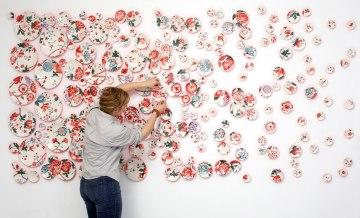 2014, 120″W x 60″H x 2″D, 199 hand-painted unique porcelain plates with glaze and underglaze and paint, Photo: John Polak