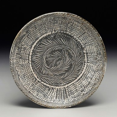 2016, native stoneware blend, stamped and carved impressions, porcelain inlay. soda and clear glazes, high fire