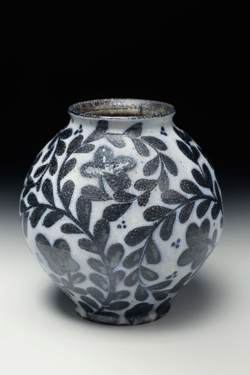 2015, native stoneware blend, wax resist brushwork, soda glaze, high fire