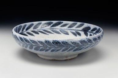 2015, native stoneware blend, wax resist brushwork, soda glaze, high fire