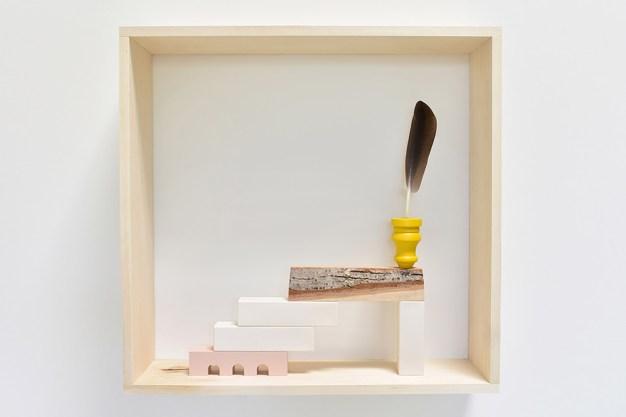 2017, porcelain, Ren foam, acrylic paint, wood, Goose feather, Frame size 28x33
