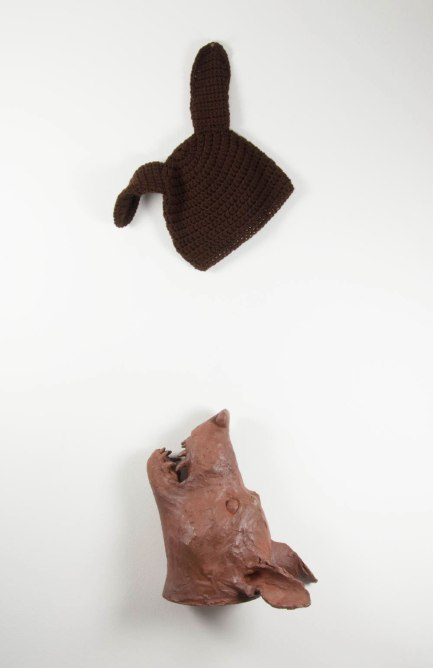 """Earthenware, crocheted hat, cone 6 oxidation, top unit: 9"""" wide, bottom unit: 13"""" x 10"""" x 7"""""""