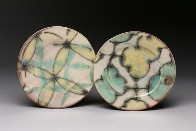 "thrown and altered earthenware, slips, glaze, 1""h x 11""w x 10.5""d, 2015"